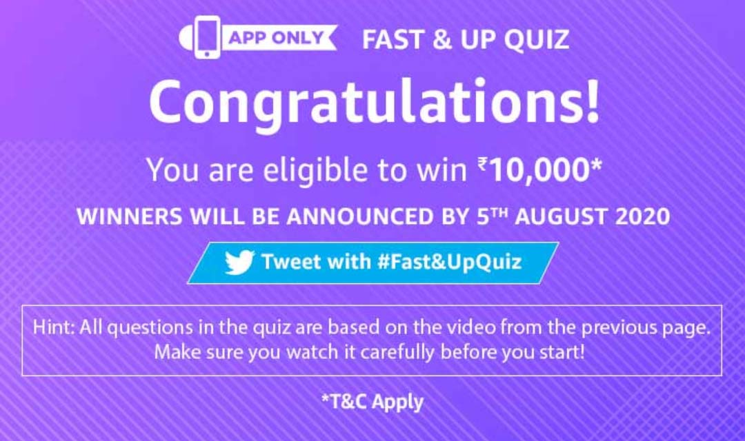 Amazon Fast & Up Quiz Answers – Watch, Play & Win ₹10000