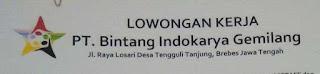 Lowongan PT Bintang Indokarya Gemilang Tanjung Brebes 2016