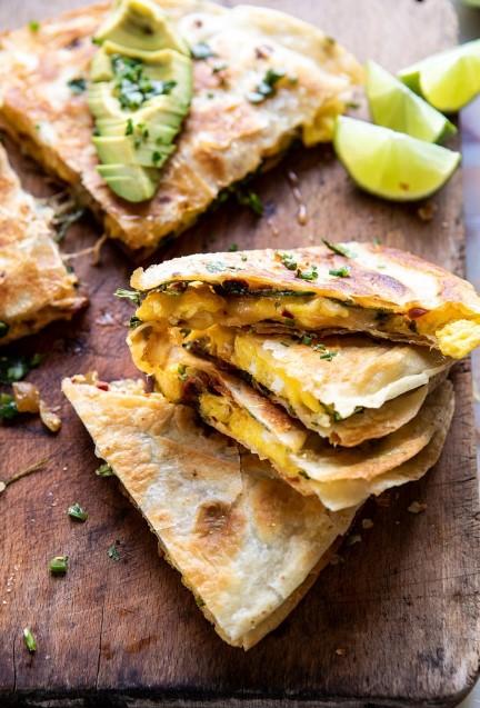 Breakfast Quesadilla with Soft Scrambled Eggs and Avocado Salsa