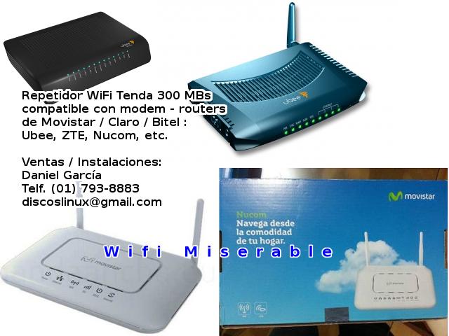 Amplía tu Internet Wifi sin necesidad de cables!. Amplificador de Wifi Compatible con modems Movistar / Claro / Bitel como ZTE, Nucom, Ubee Coaxial, TP-Link, Askey, Hitron y muchos routers mas de Lima Peru