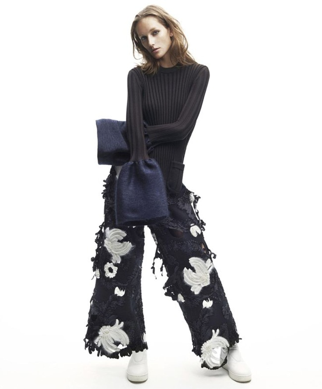 Céline 2015 AW Wide-Leg Trousers With Broken Floral Appliqués Editorials
