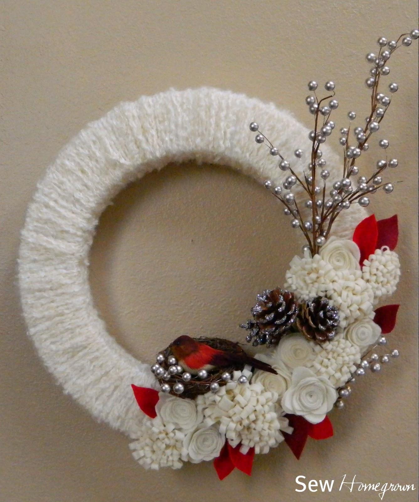 Sew Homegrown: {DIY} Woodland Winter Wreath