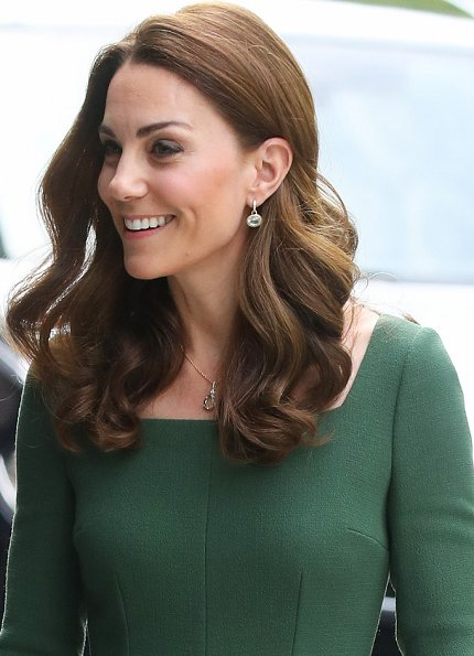 Kate Middleton in a custom forest green Emilia Wickstead dress, Mulberry bag and Gianvito Rossi heels