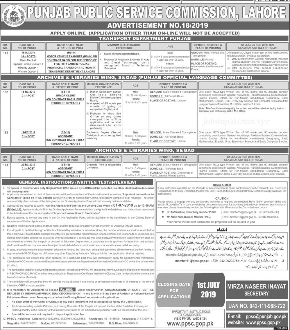 PPSC Advertisement 18/2019