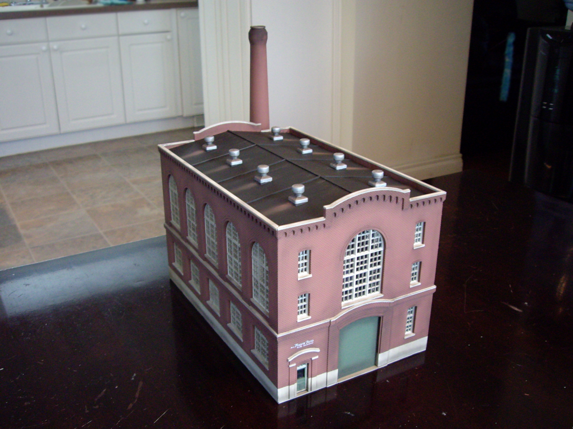 Completed Walthers Cornerstone Northern Light and Power kit showing roof panels and smoke stack