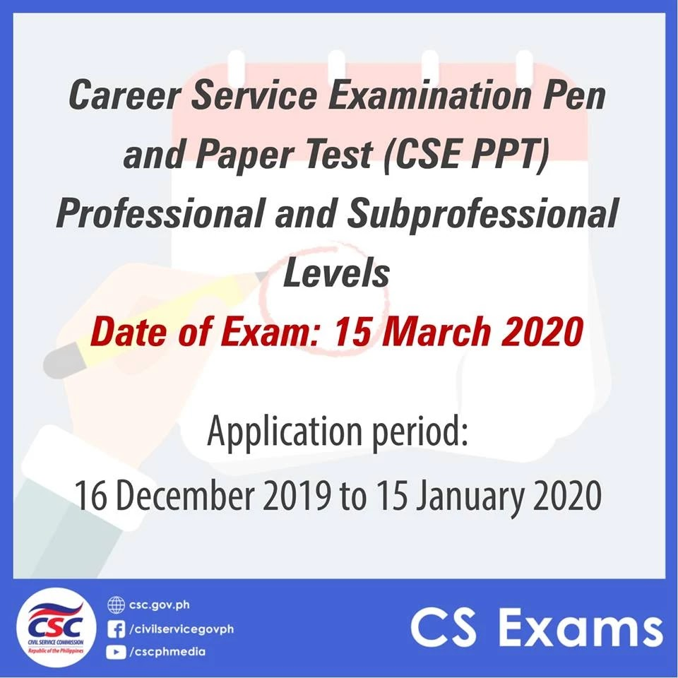 2020 Career Service Examination (CSE) Pen and Paper Test (Professional and Subprofessional Levels)