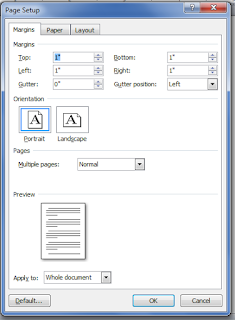 Page Setup in Ms word