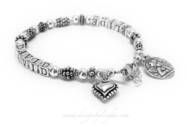David & Elide sterling silver Mother's Bracelet
