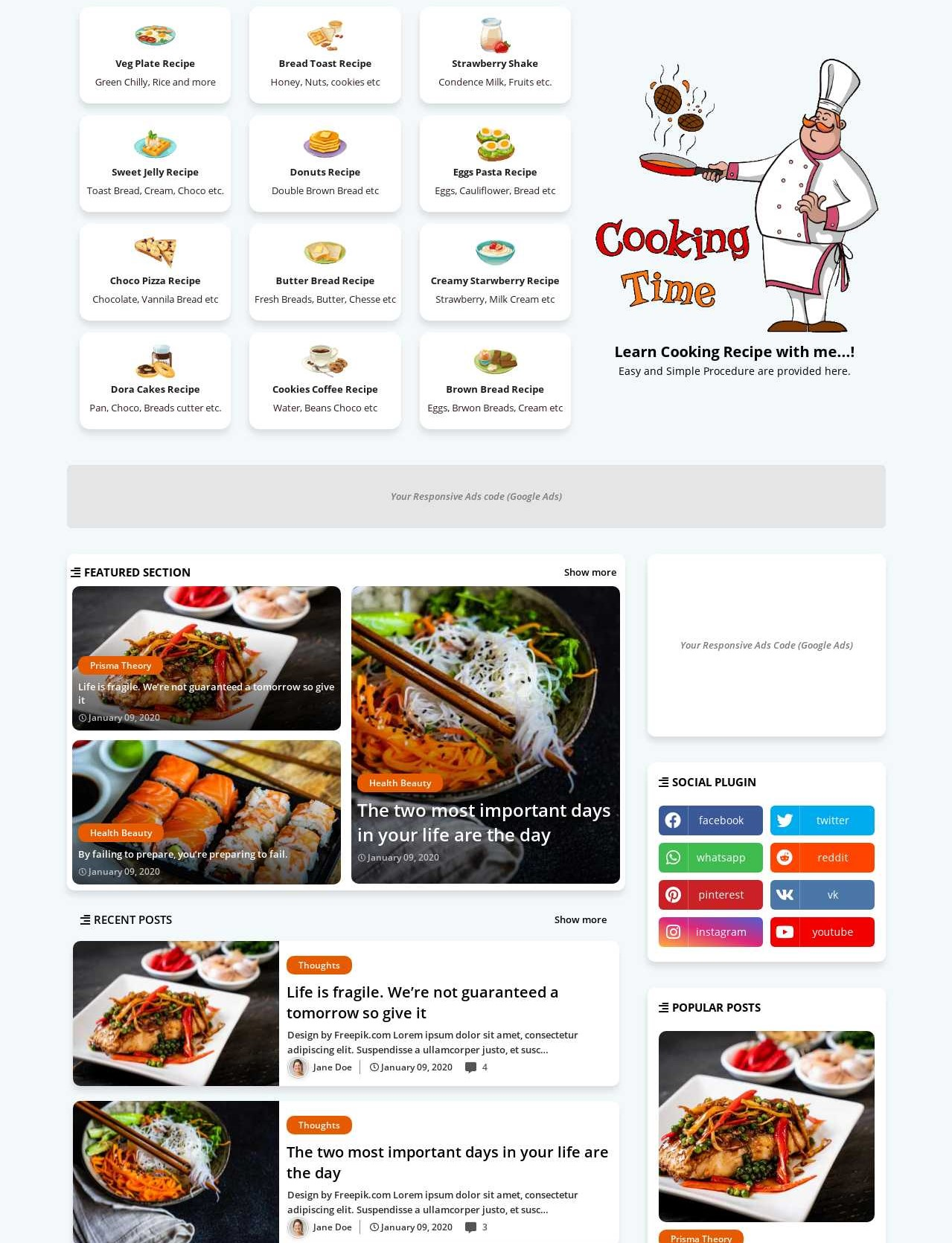 Cooking  Recipe And Food Blogger Templates