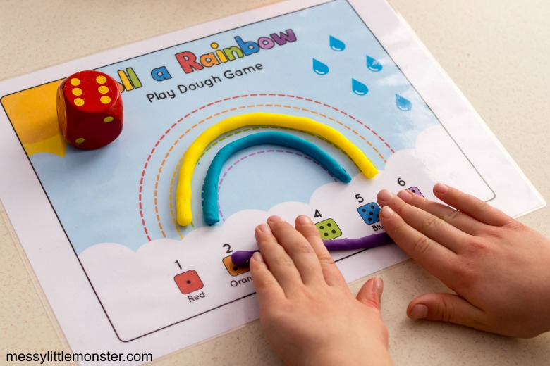 Rainbow playdough counting activity for preschoolers