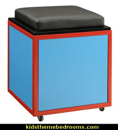 Train Theme Storage Ottoman  Train Theme furniture