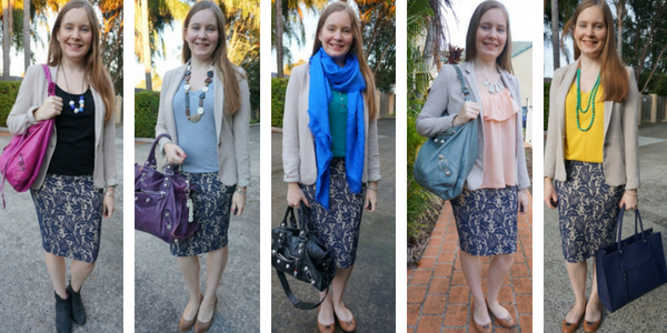 5 outfit idas with blue lace pencil skirt and jersey blazer for the office | awayfromblue