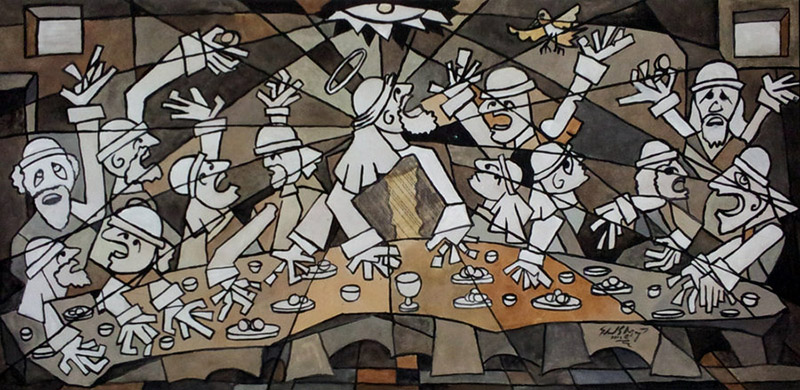 Cubism Last Supper by eddietheyeti