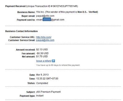 Bằng chứng nhận tiền của Yllix.com
