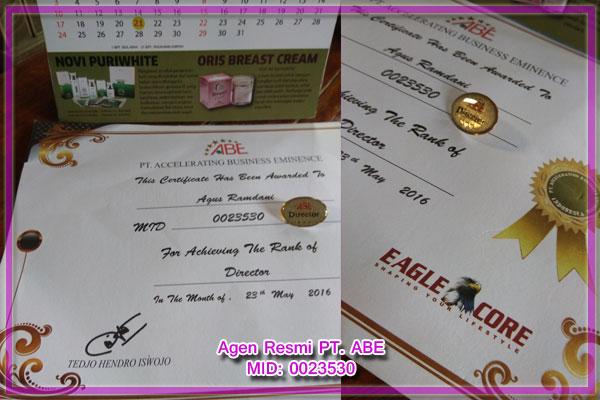 sertifikat agen resmi ABE penjual Oris Breast Cream Asli