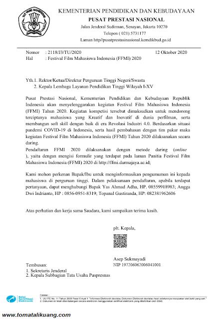 surat pengumuman pelaksanaan ffmi tahun 2020 secara daring online pdf tomatalikuang.com