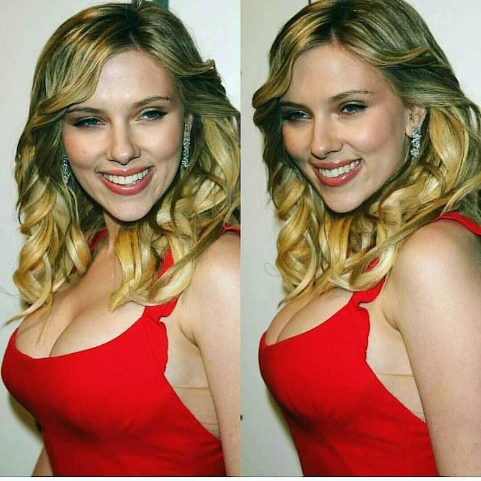 Scarlett Johansson Sexy Cleavage Photos-Bikini Pictures