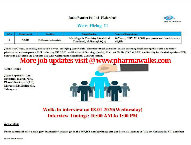 Walk-in interview for M.Sc / M.Pharm  Freshers - AR&D on 8th Jan' 2020
