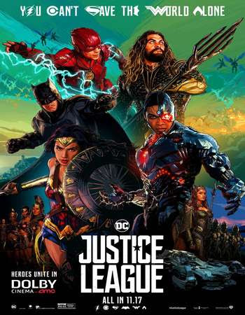 Poster Of Free Download Justice League 2017 300MB Full Movie Hindi Dubbed 720P Bluray HD HEVC Small Size Pc Movie Only At worldfree4u.com
