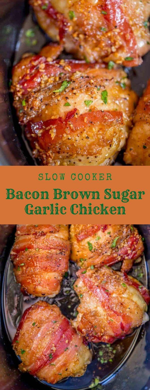 Slow Cooker Bacon Brown Sugar Garlic Chicken