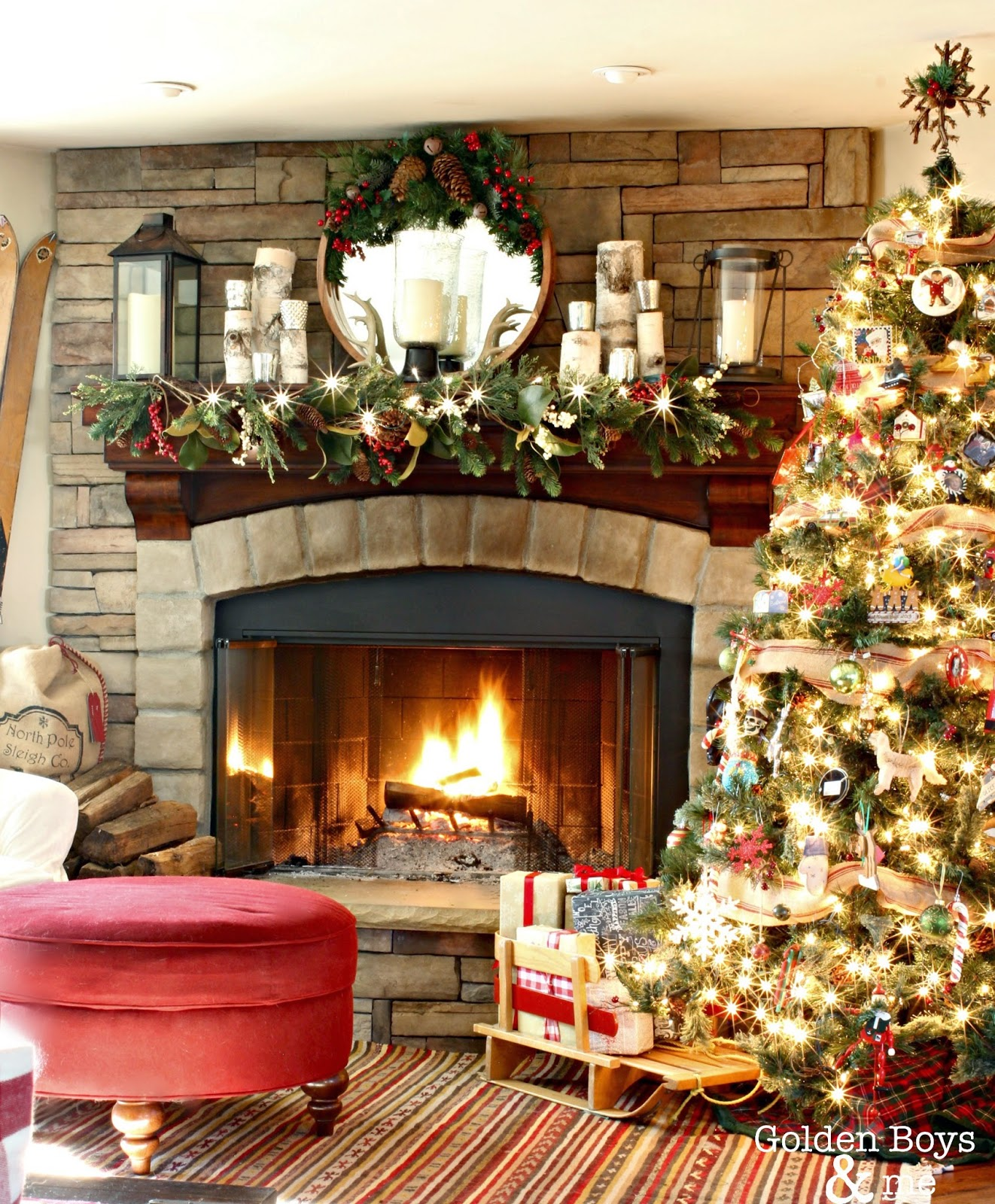Elegant And Neutral Christmas Foyer: Golden Boys And Me: Our Christmas Family Room