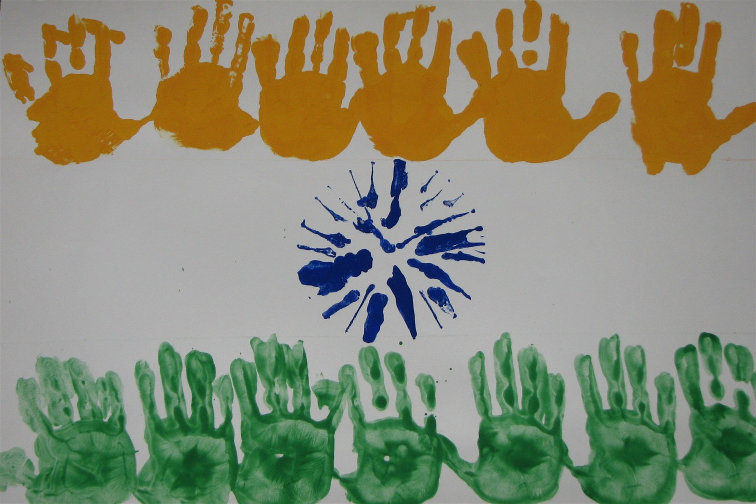 Today putti made  india flag for the upcoming independence day it   great simple project kids of all ages she enjoyed painting her hands with also handprint world activities rh puttisworldspot