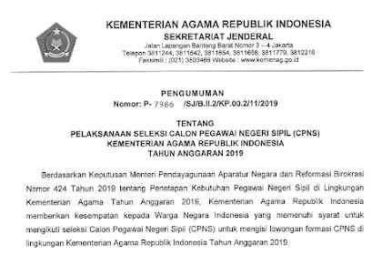 Lowongan CPNS Kemenag Tahun 2019