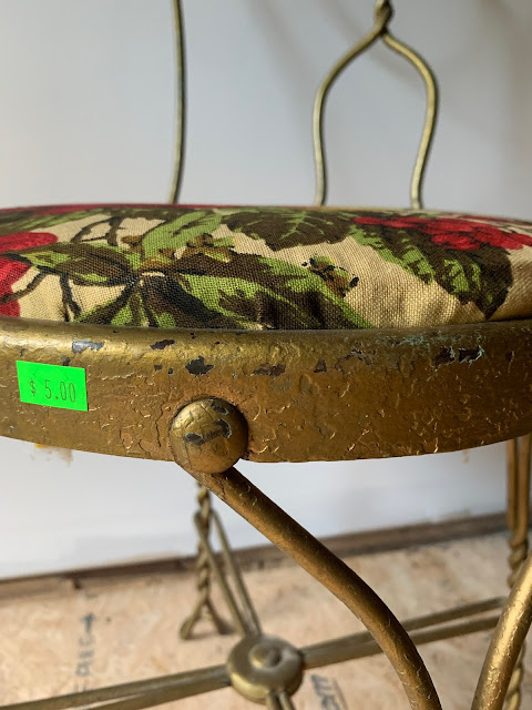 $5 gold vintage ice cream parlor chair before