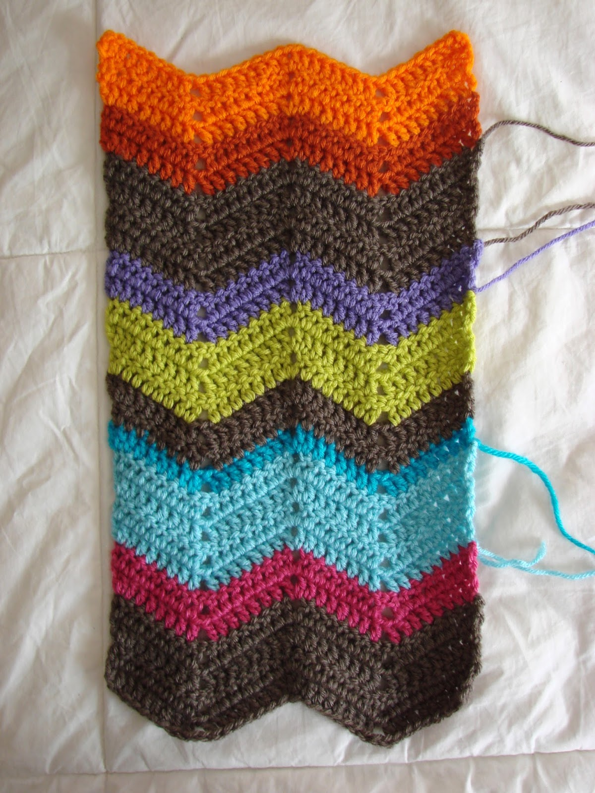 Crochet in color chevron scarf pattern for How to make a chevron template