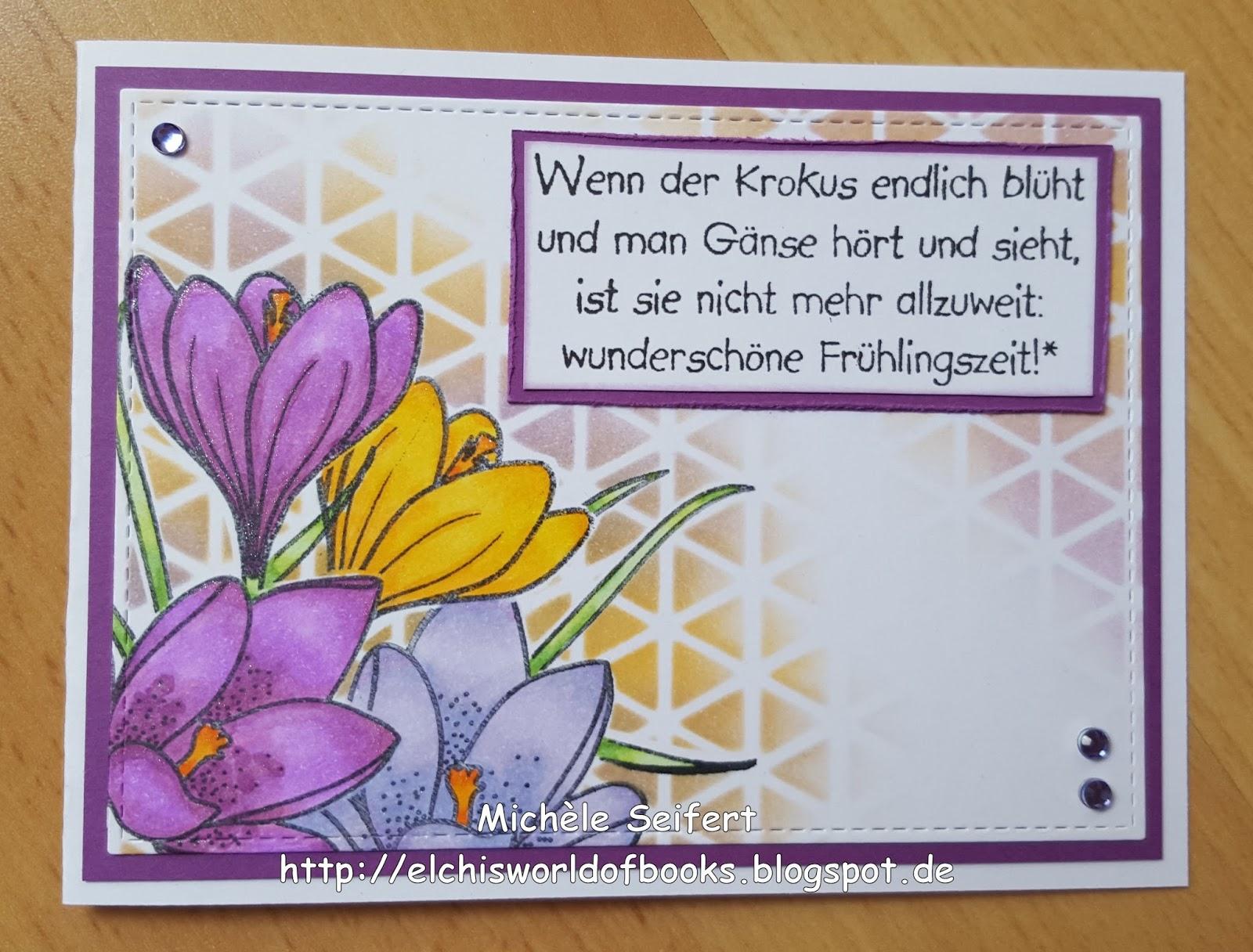 Crafting Karte Fruhlingskartchen Mit Krokus Elchi S World Of