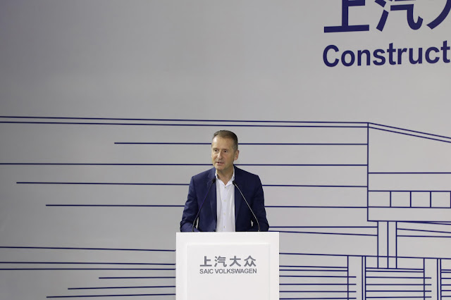 Image Attribute: Dr. Herbert Dies, Chairman of the Board of Management of Volkswagen AG, at the start of pre-production opening the new factory of SAIC VOLKSWAGEN in Anting, Shanghai (China). / Photo ID: DB2019AL02524 / Source: Volkswagen AG