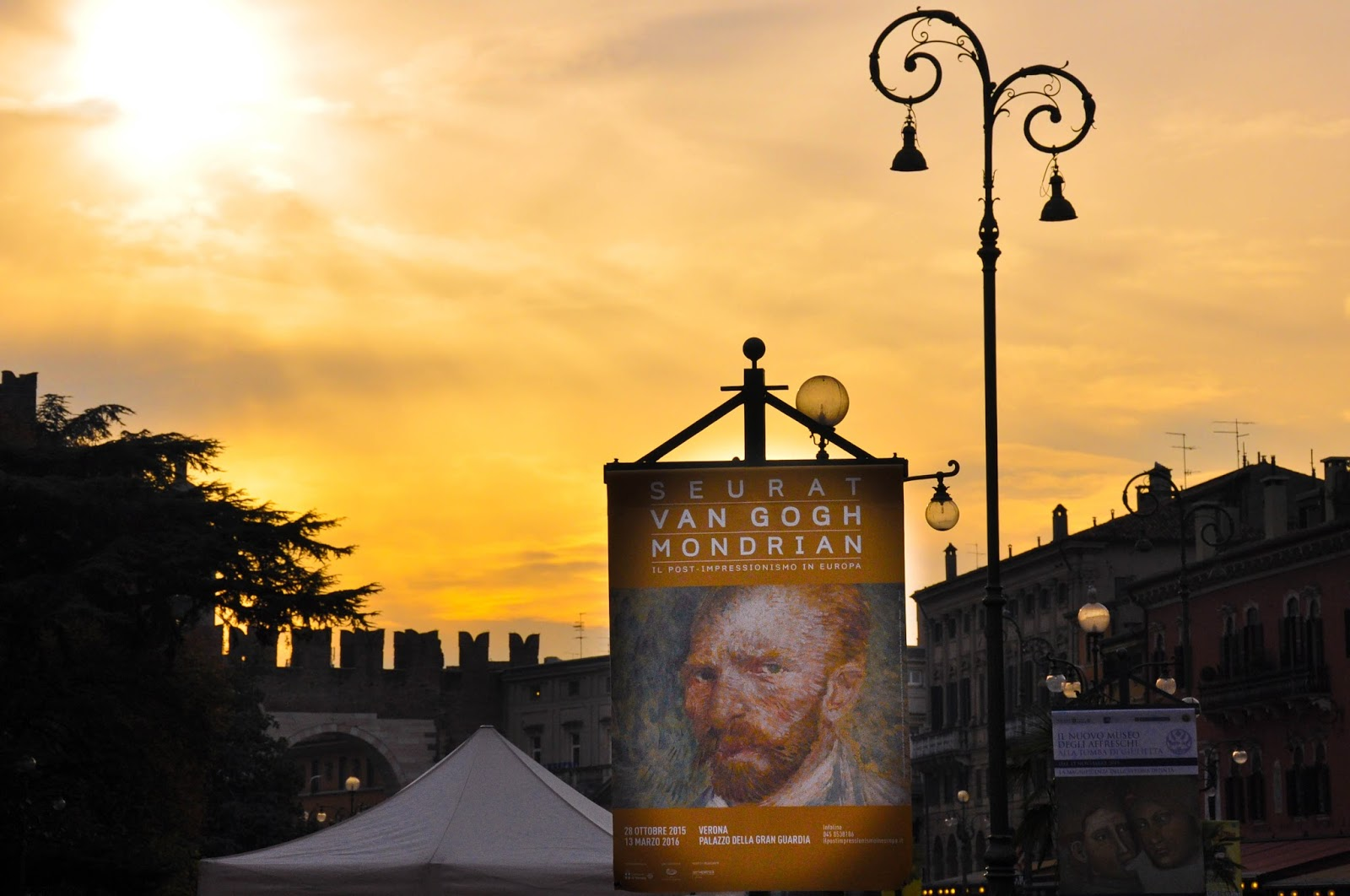 Under the impressionist sky; a poster for the Seurat, Van Gogh, Mondrian exhibition, Verona, Italy