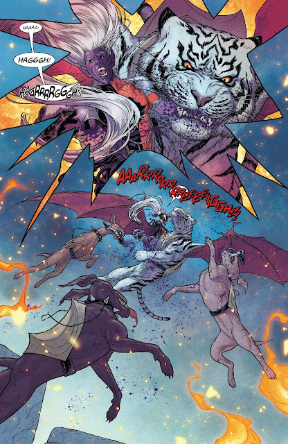 Malekith is attacked by the War Dogs and his flying Tiger in War of the Realms Issue #6.