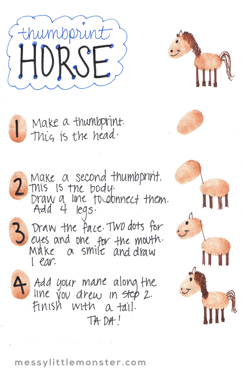 horse thumbprint art