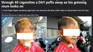 Baru umur 2 tahun da hisap sekotak rokok sehari