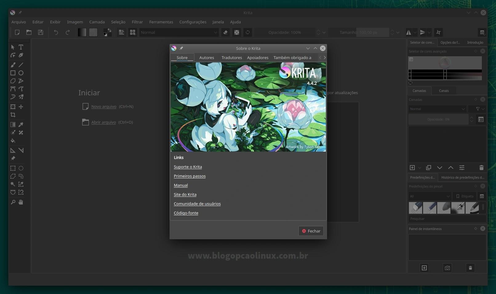 Krita executando no openSUSE Leap 15.3