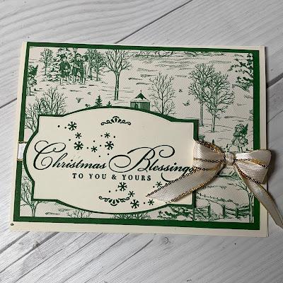 Handmade Christmas card with Garden Green print Designer Series Paper