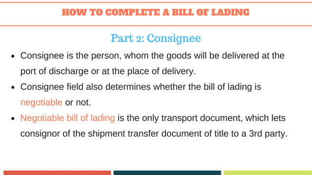 How to complete a bill of lading | Consignee