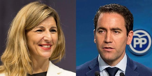 Yolanda Díaz y Teodoro García Egea