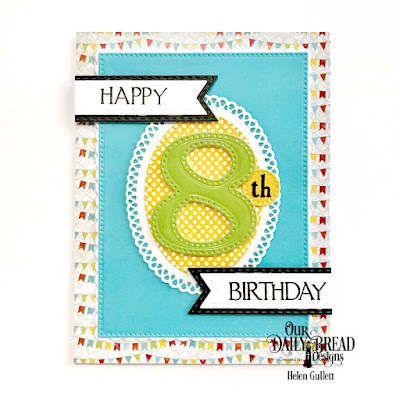 Our Daily Bread Designs Stamp Set: Celebration, Custom Dies: Large Numbers, Pierced Rectangles,  Pierced Ovals, Ornate Ovals, Pennant Flags, Double Stitched Pennant Flags, Paper Collections: Birthday Bash, Birthday Brights