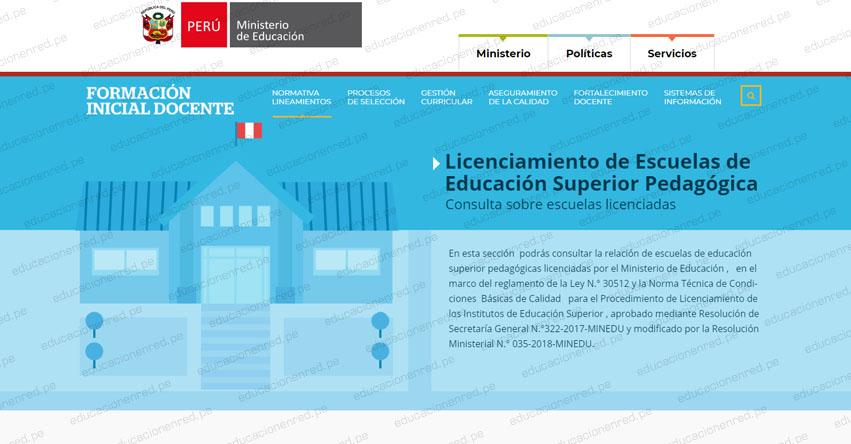 MINEDU: Relación de Escuelas de Educación Superior Pedagógicas - EESP 2020 licenciadas por el Ministerio de Educación