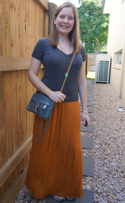 awayfromblue ochre amber maxi skirt with grey tee and blue mini mac bag spring style