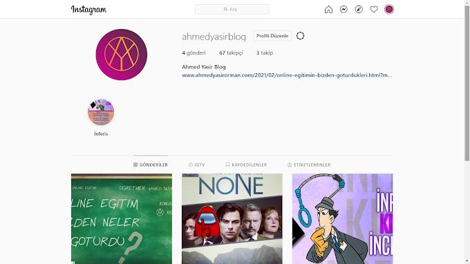 Blogumun instagram sayfası @ahmedyasirblog