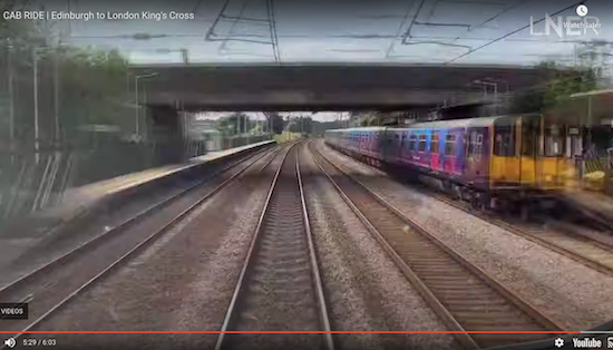 "Welham Green station at 5'28"" - screen grab from the LNER video"