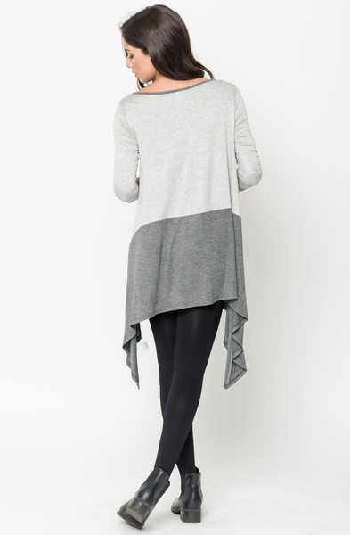 Buy Now Heather grey Two Tone Jersey Tunic Online $20 -@caralase.com