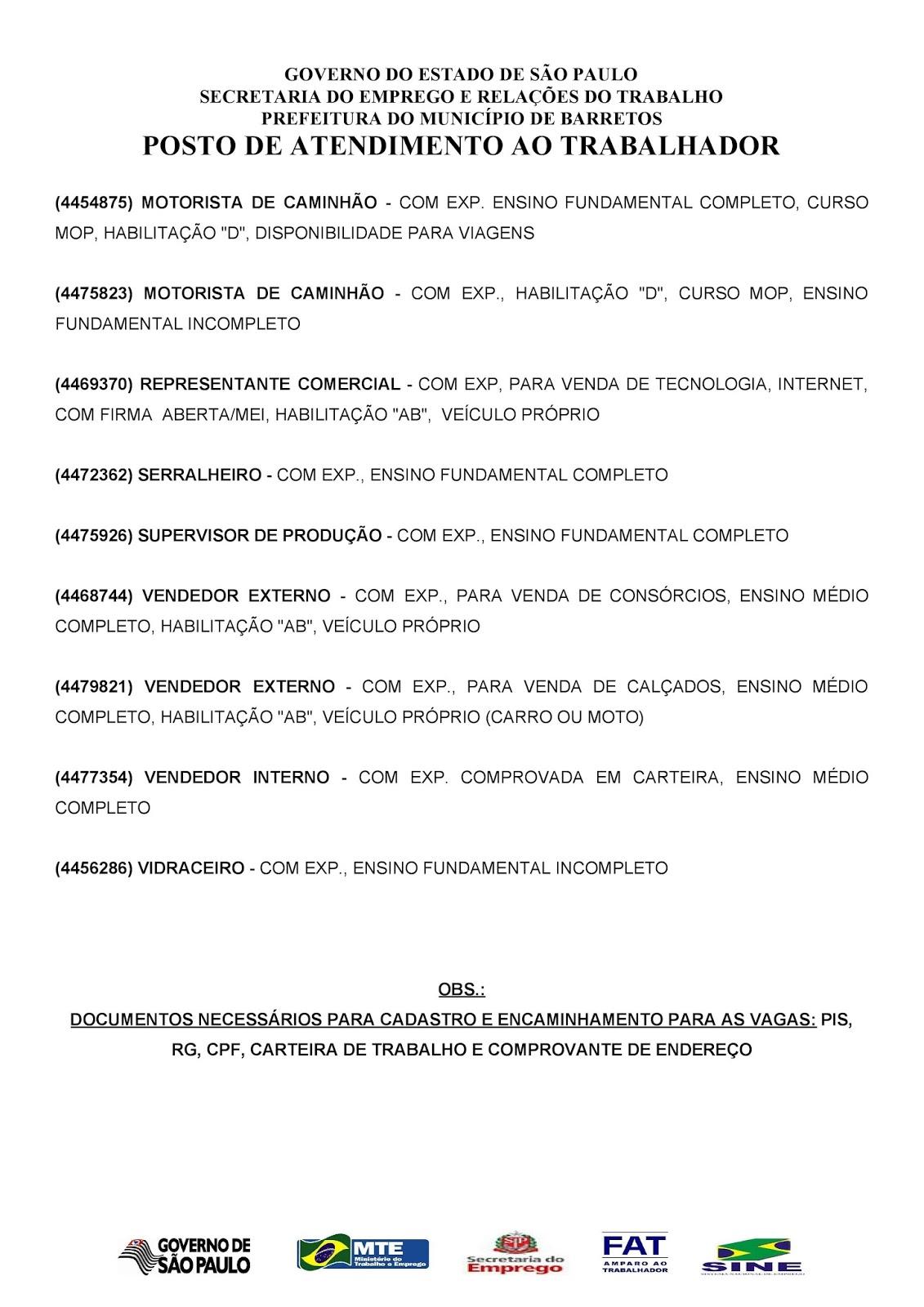 VAGAS DE EMPREGO DO PAT BARRETOS-SP PARA 24/04/2018 TERÇA-FEIRA - Pag. 2