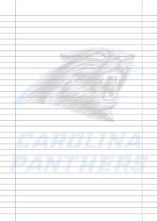 Papel Pautado Carolina Panthers PDF rabiscado para imprimir na folha A4