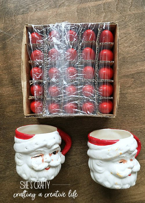 christmas, christmas decor, santa mugs