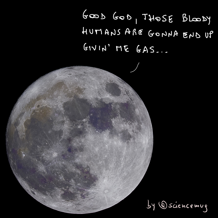 Moon's comment on ESA making oxygen out of moondust! (by @sciencemug)