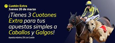 William Hill promocion Caballos y Galgos 26 marzo 2020